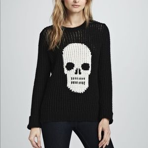 Autumn cashmere hand knit skull crewneck sweater